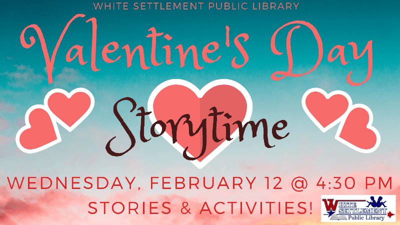 Valentine&#39s Day Storytime, Feb 12 at 4:30 pm