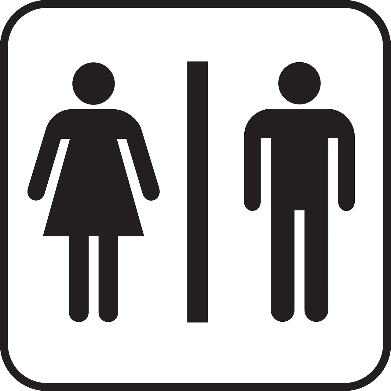 sign from a restroom depicting a male and a female
