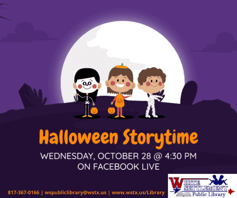 Halloween Storytime October 28 4:30 pm Facebook Live