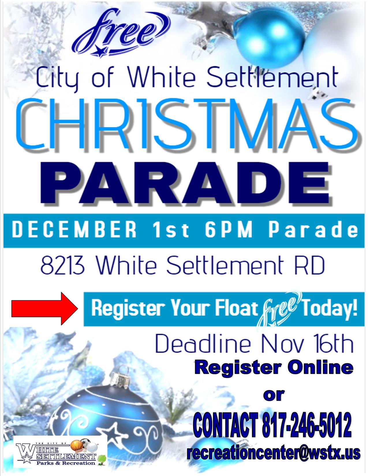 flyer showcasing the upcoming Christmas parade