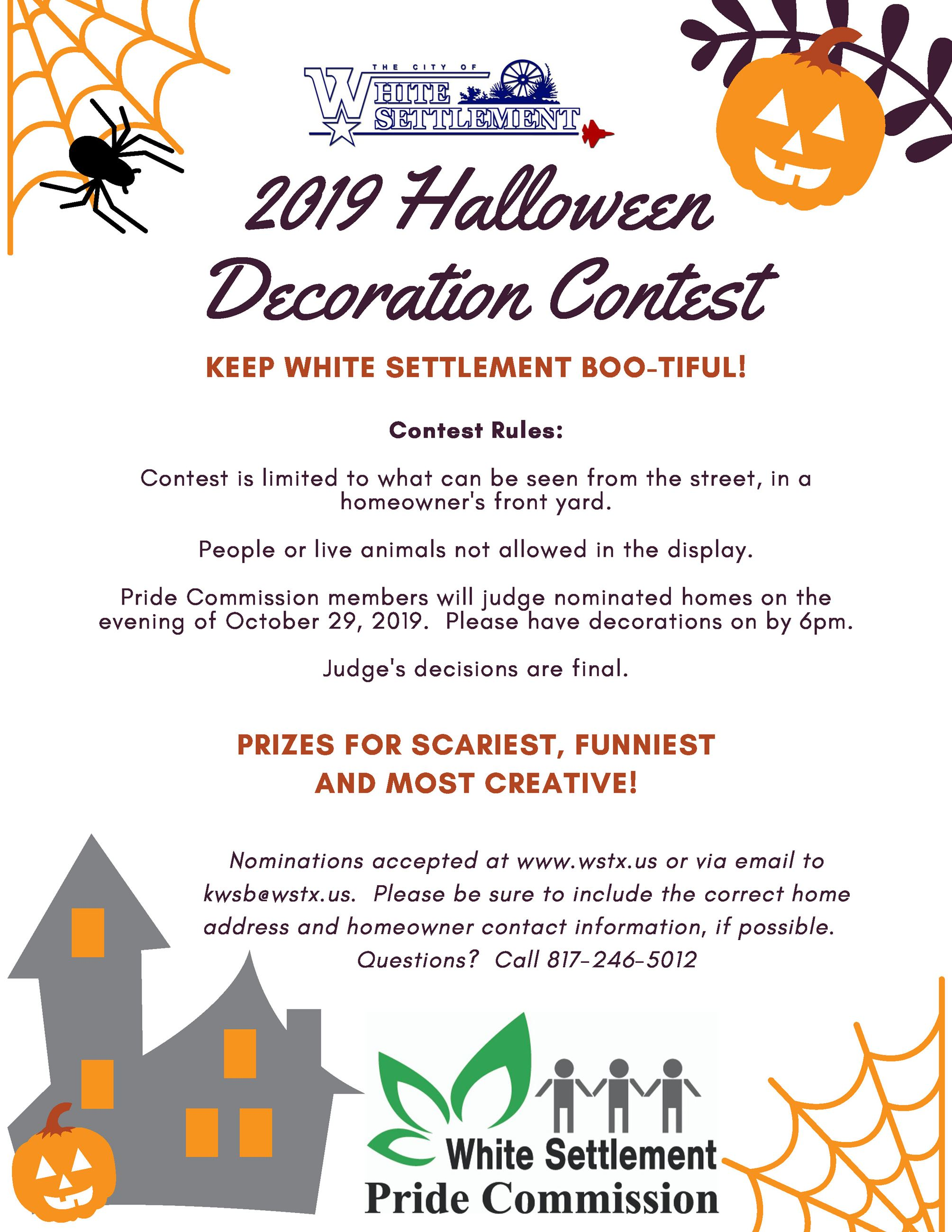a flyer for a halloween decorations contest