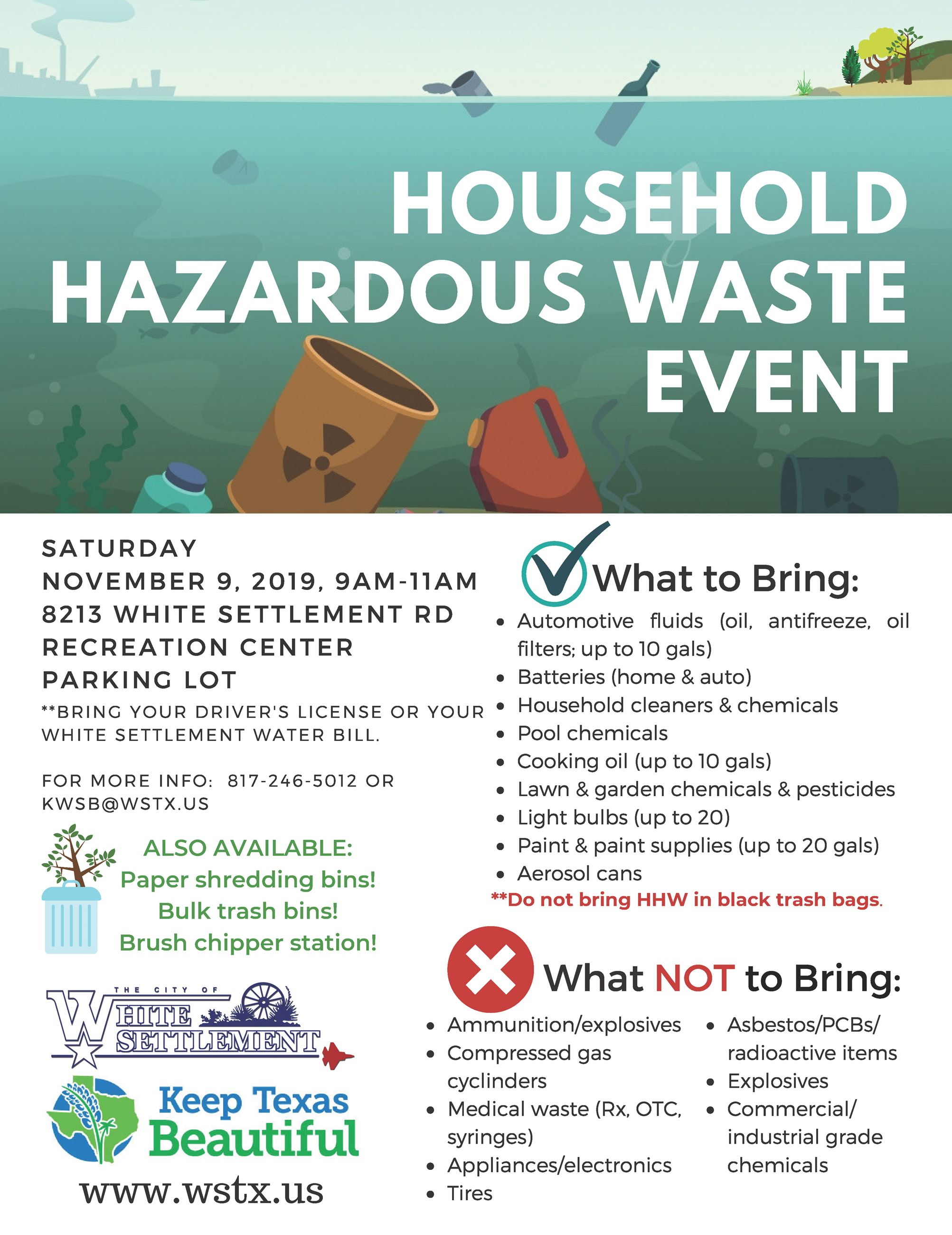 Household hazardous waste event list of acceptable items
