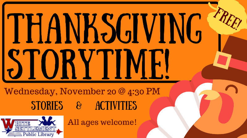 Thanksgiving Storytime November 20 4:30