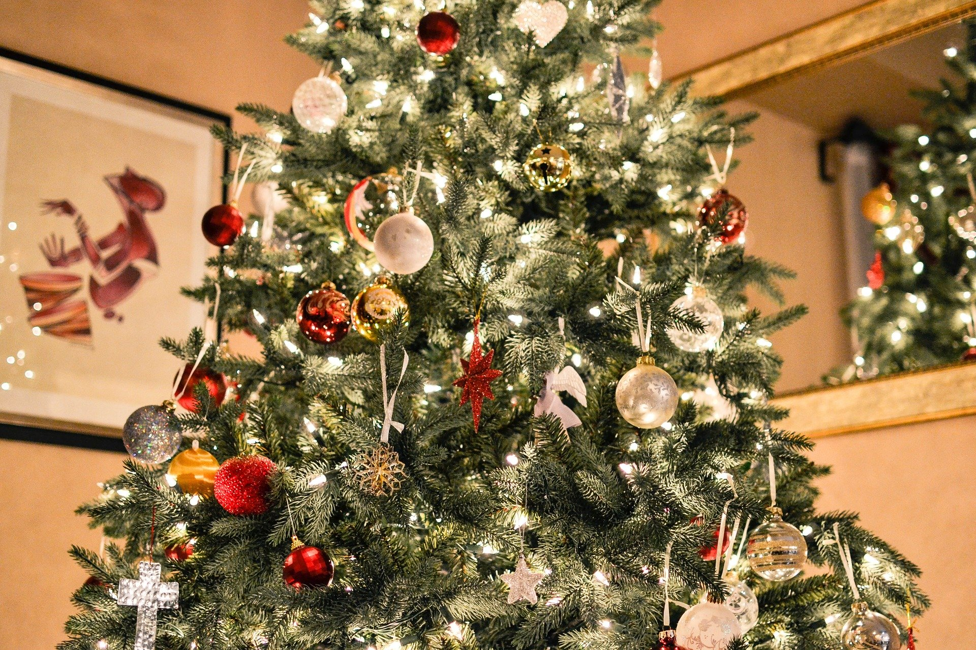 christmas tree with lights and ornaments