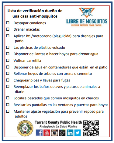 checklist of anti mosquito measures in spanish