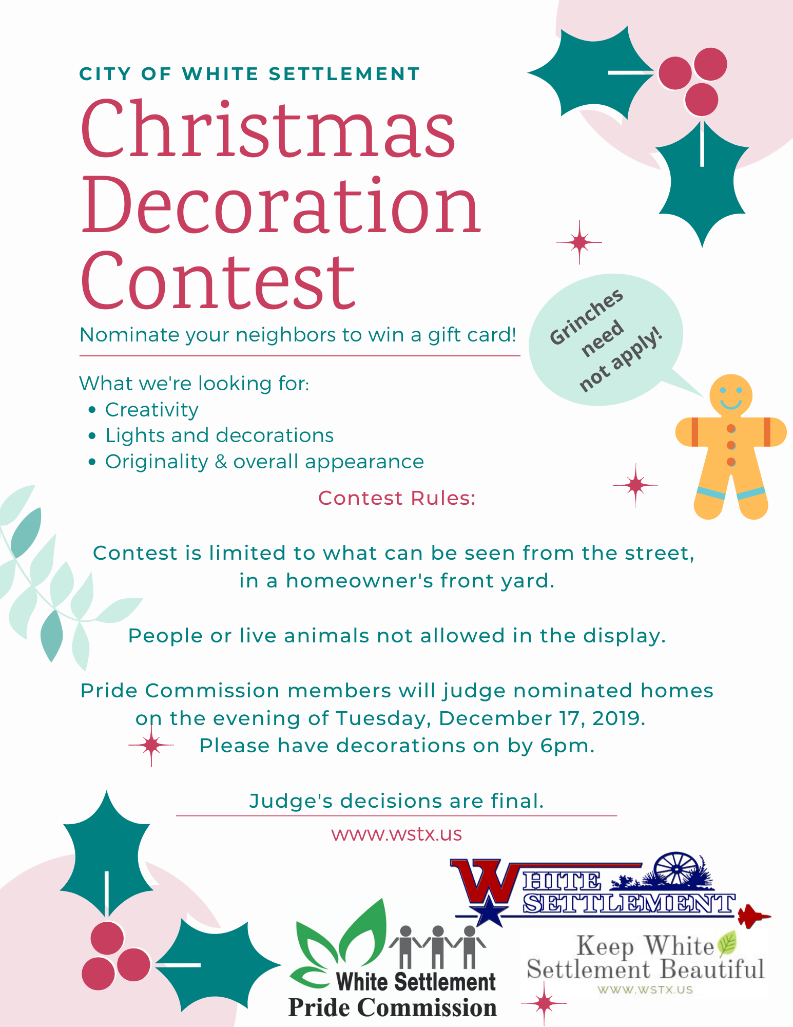 holiday images announcing a decorations contest